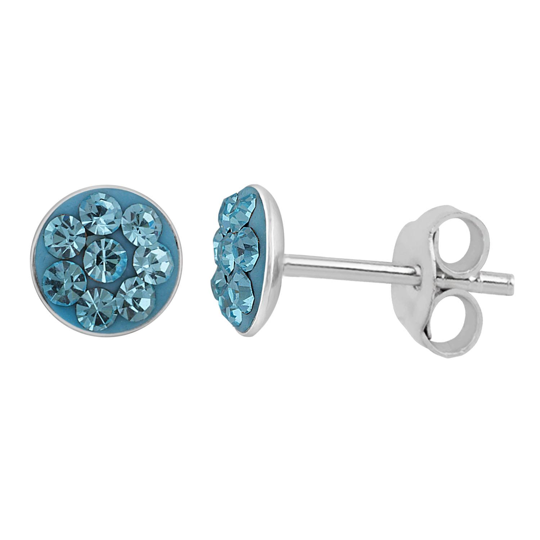 Sterling Silver 5mm Light Blue Crystal Stud Earrings