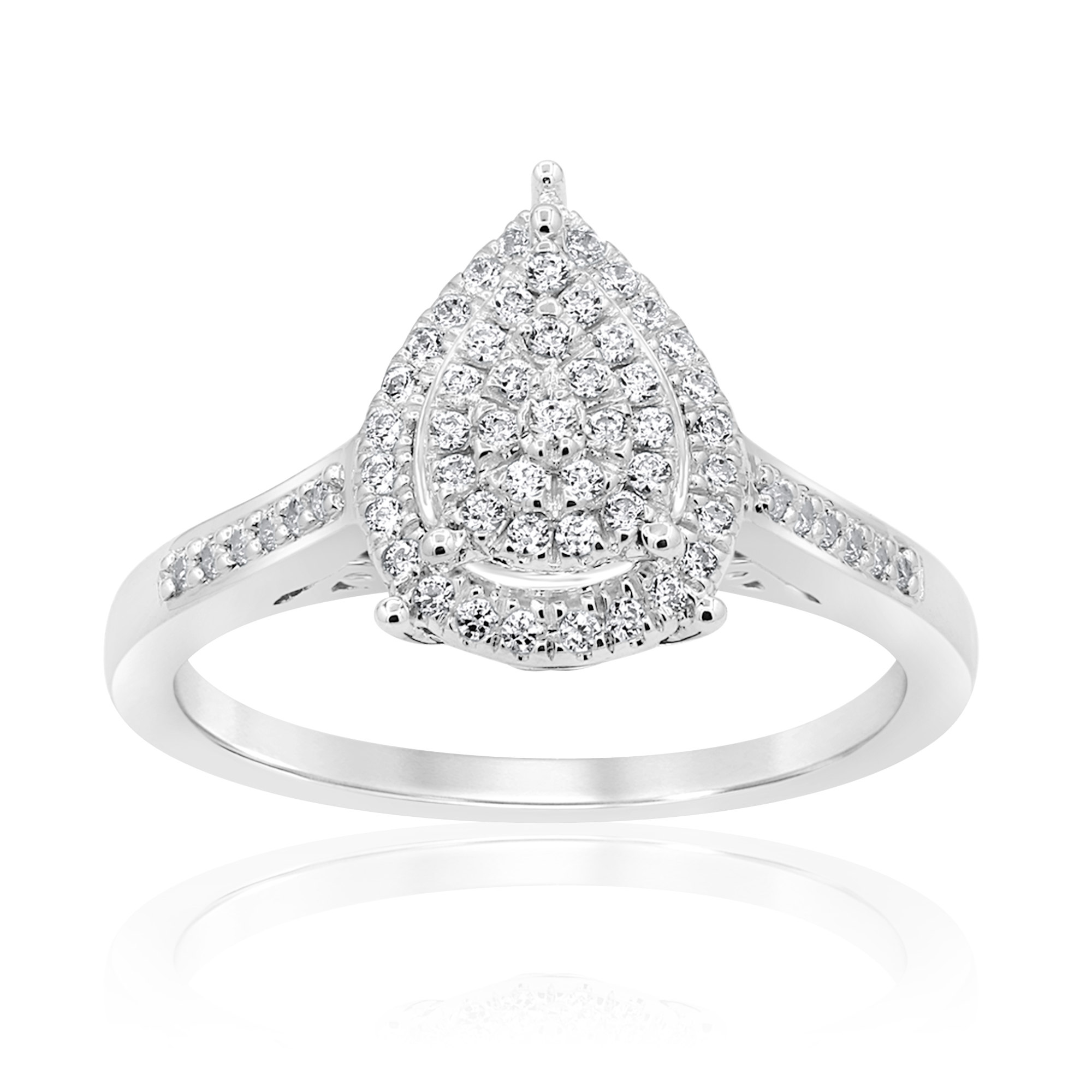 Sterling Silver 1/4 Carat Pear Shap Diamond Dress Ring