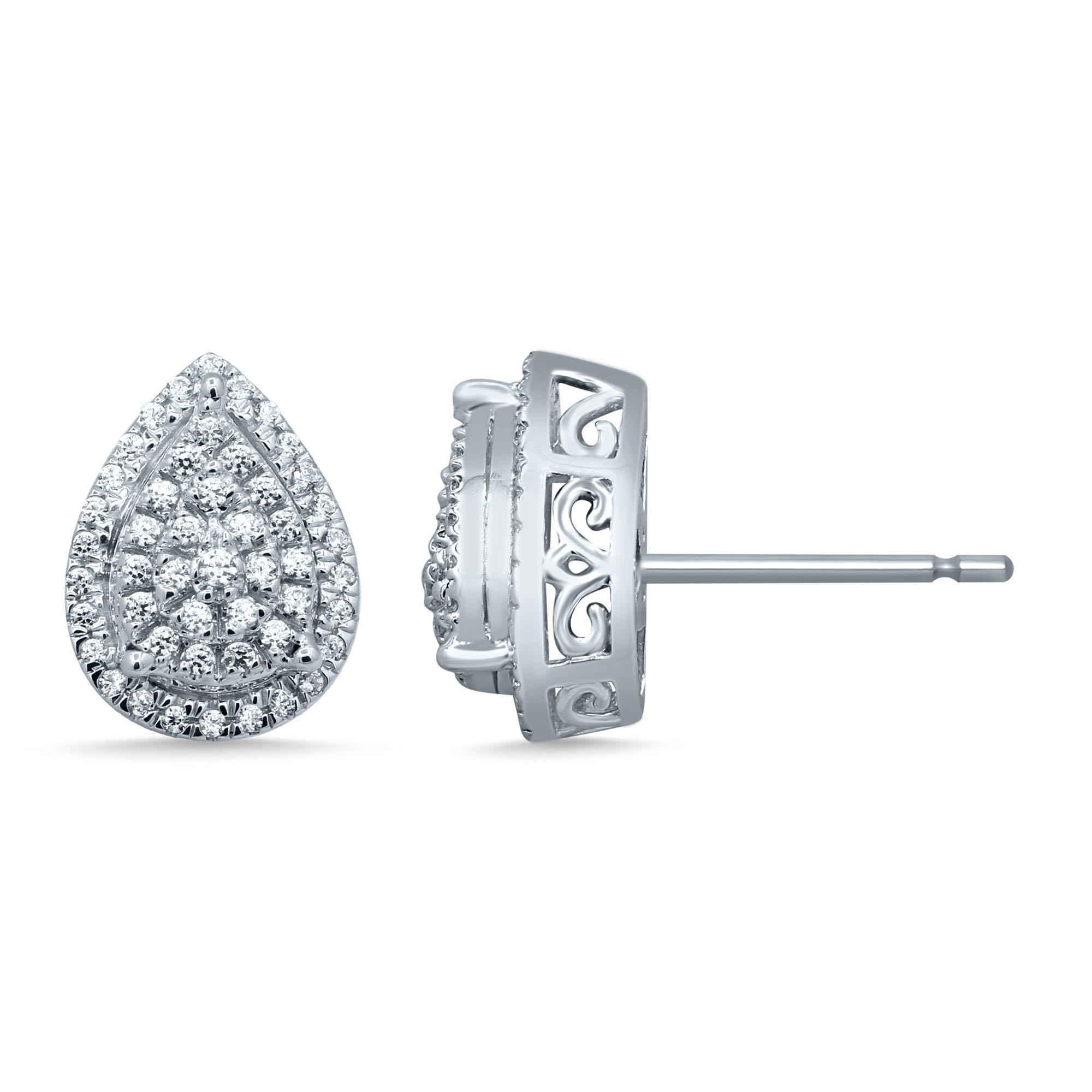 Sterling Silver 35 Points Pear Shap Stud Earrings