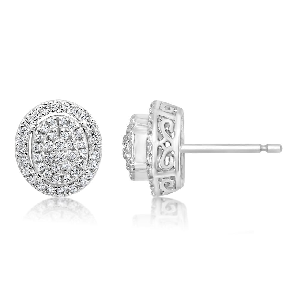 Sterling Silver 35 Points Diamond Stud Earrings