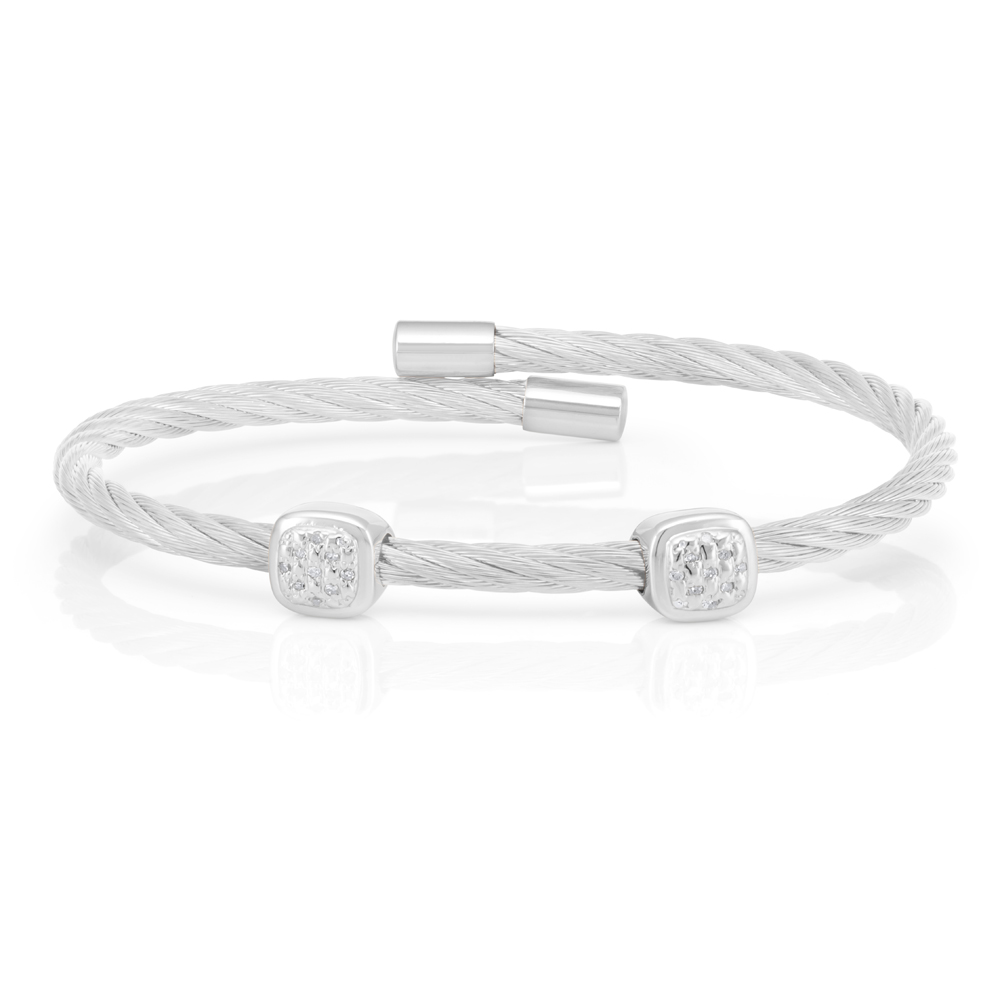 Sterling Silver 10 Points Diamond 3mm Cable Bangle