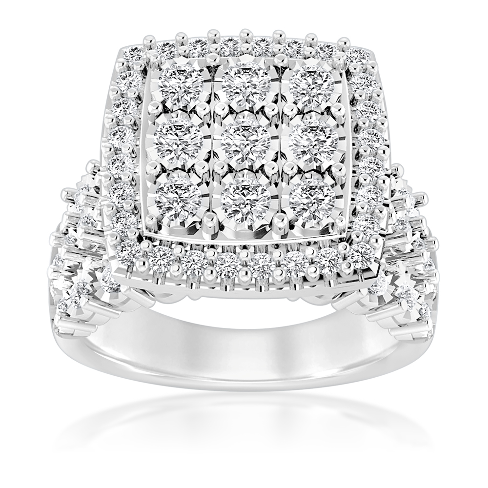 Sterling Silver 1 Carat Cushion Shape Cluster Diamond Ring