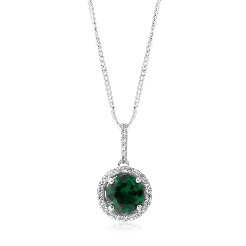 Sterling Silver Simulated Emerald and Zirconia Pendant
