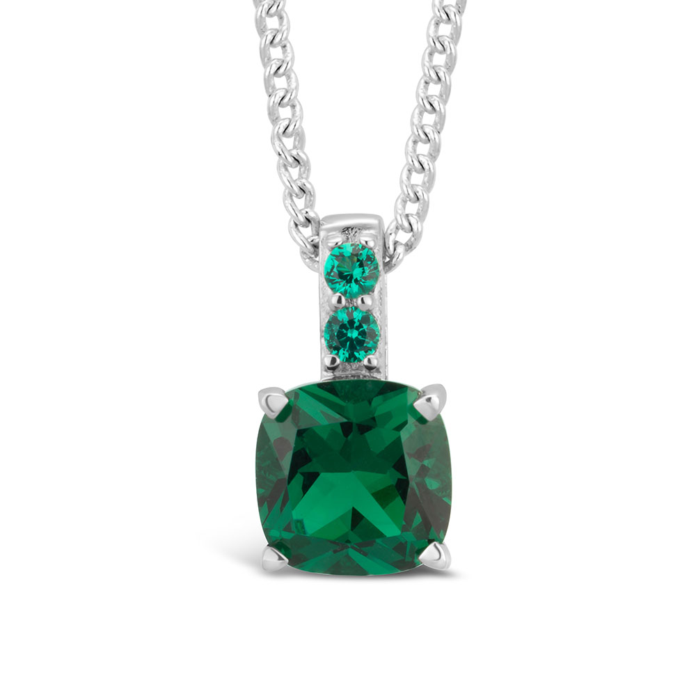 Sterling Silver Simulated Emerald Pendant