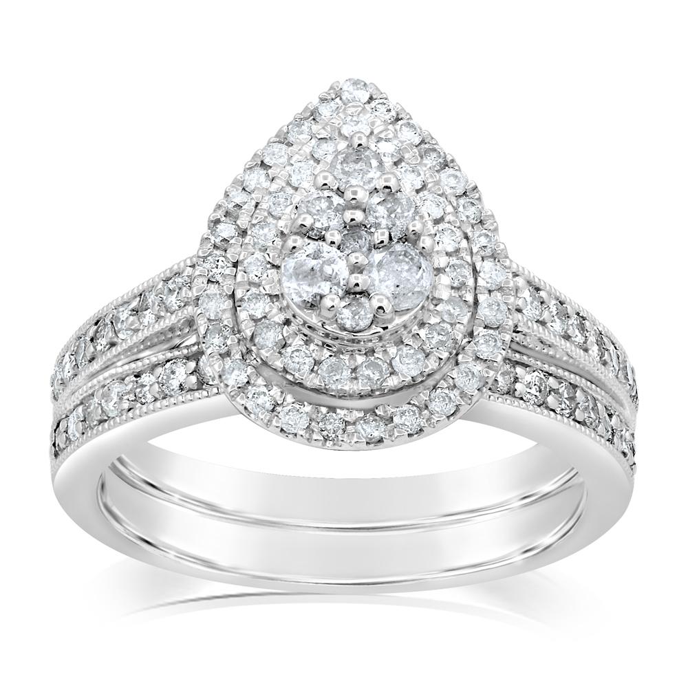 Sterling Silver 1 Carat Diamond 2 Ring Bridal Set