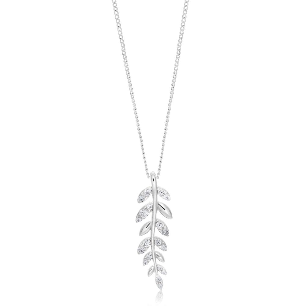 Sterling Silver Zirconia Leaf Pendant