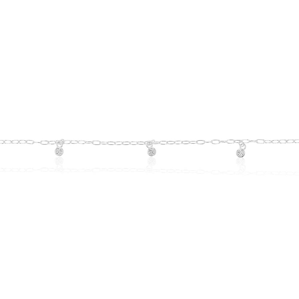 Sterling Silver Multi Bead Drop Anklet