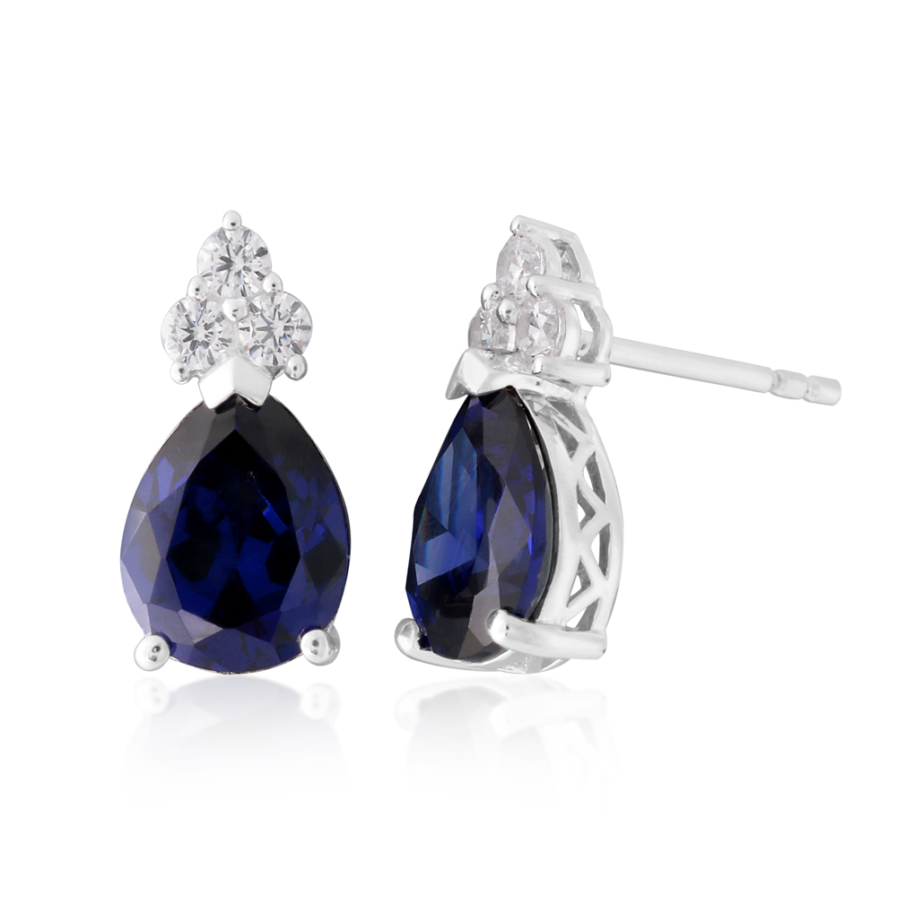 Sterling Silver Created Tanzanite and White Zirconia Pear Stud Earrings