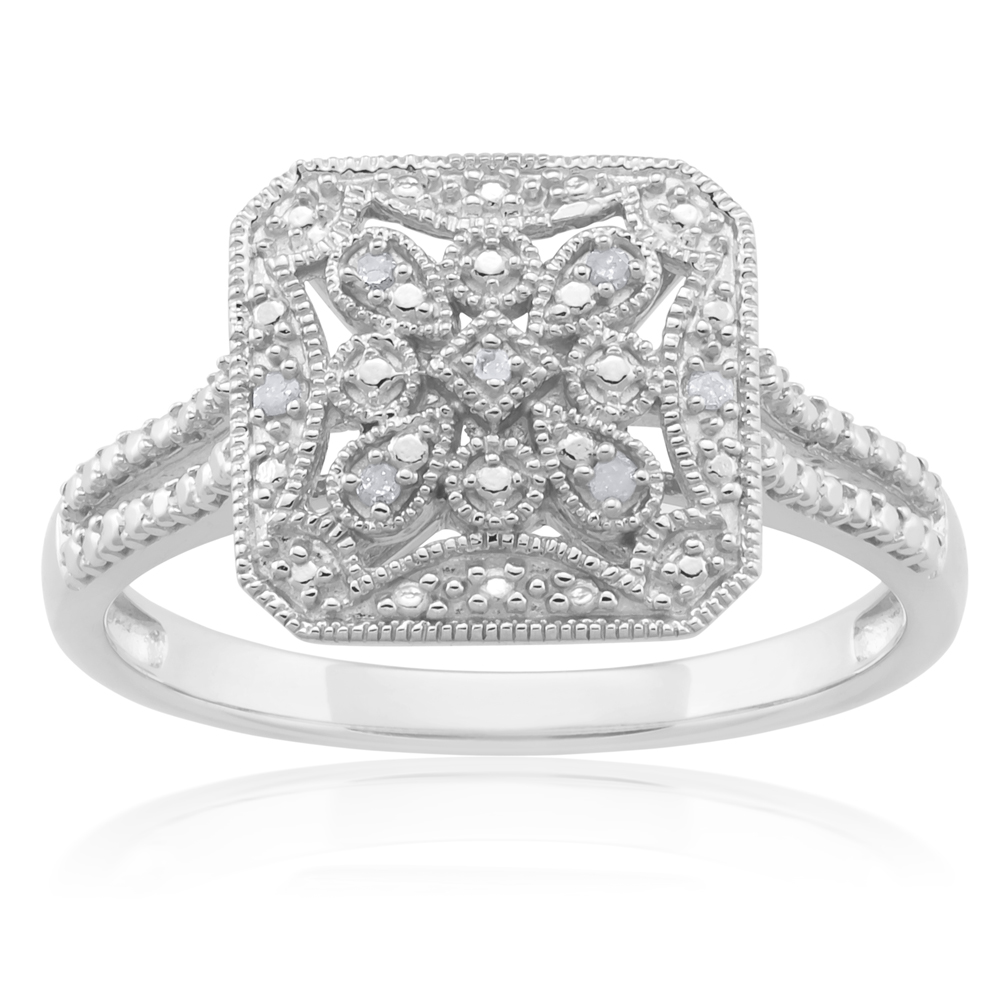Sterling Silver 0.03 Carat Diamond Ring with 6 Brilliant Cut Diamonds