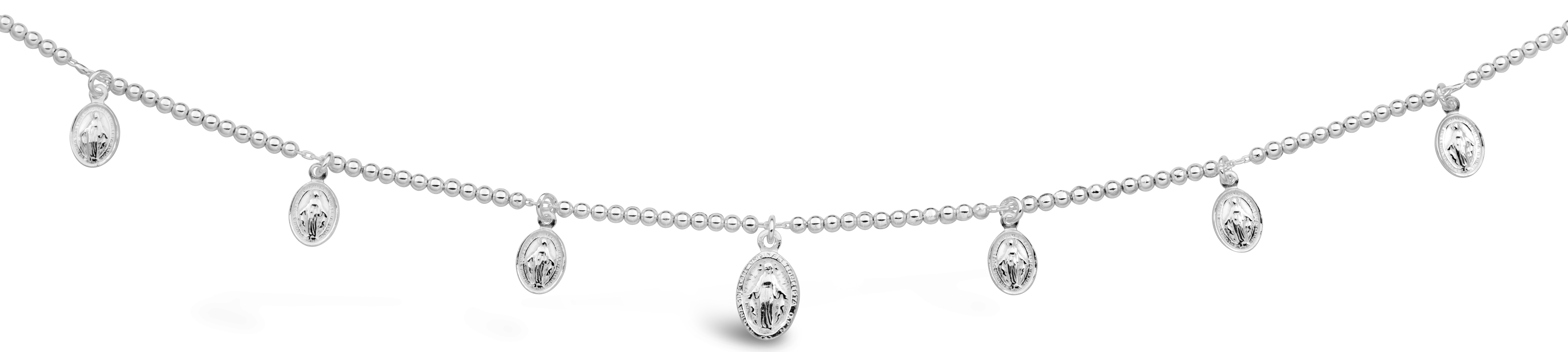 Sterling Silver 47cm Miraculous Mary Medallion Necklet