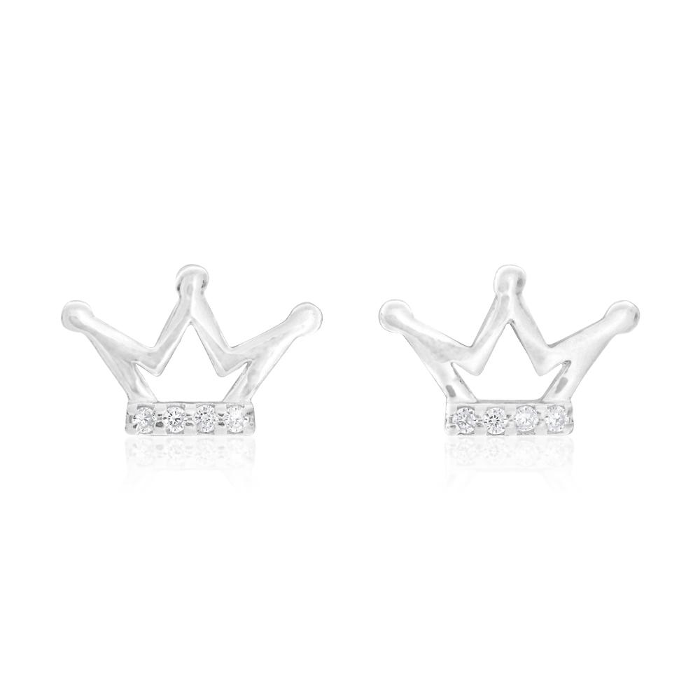 Sterling Silver 3 Point Crown Stud Earrings