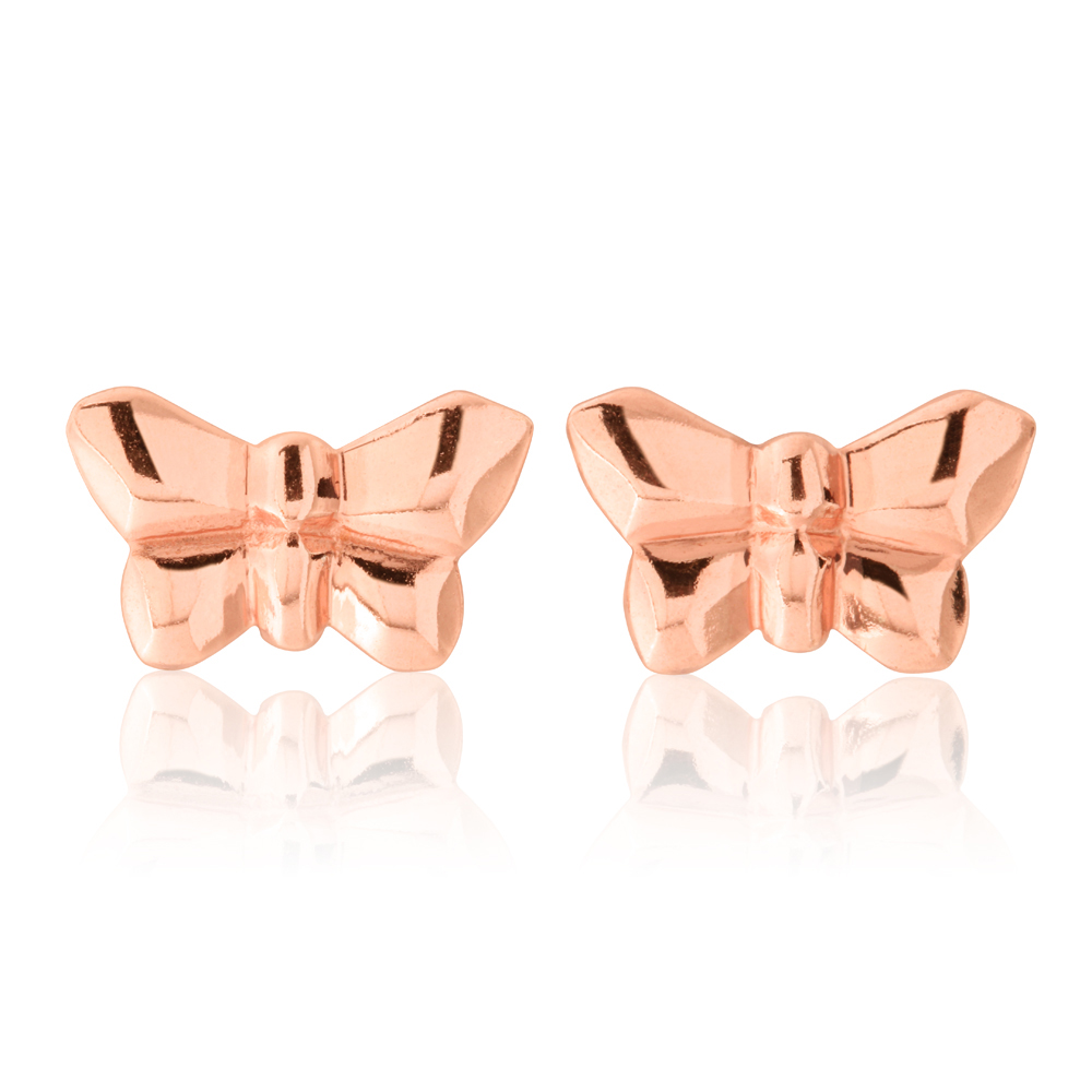 Sterling Silver Rose Gold Plated Butterfly Studs