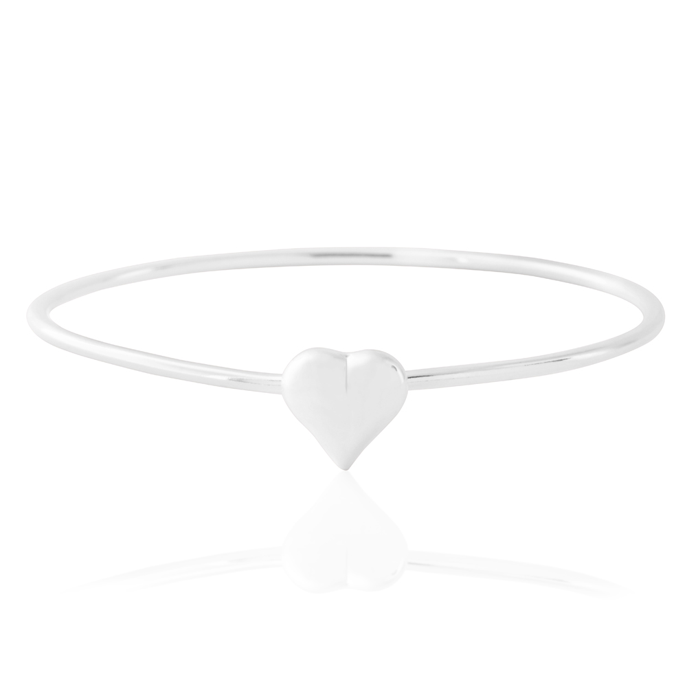 Sterling Silver Flexible Heart Baby Bangle