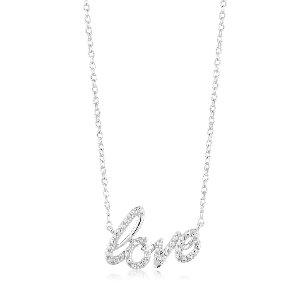 Sterling Silver Love Diamond Pendant with 1 Brilliant Cut Diamond on 45cm Chain