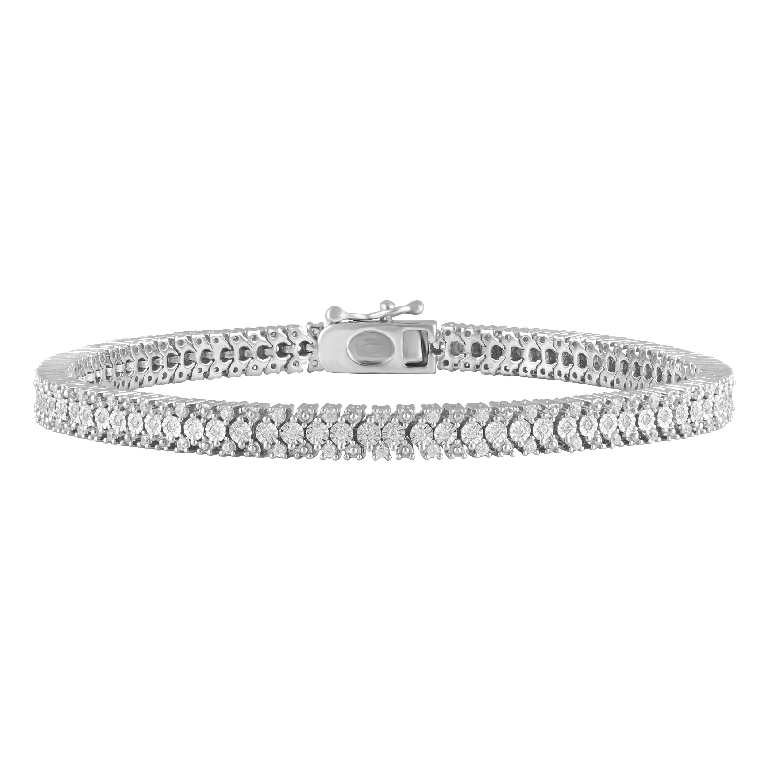 Sterling Silver 1 Carat Diamond Bracelet with 167 Brilliant Cut Diamonds 18cm