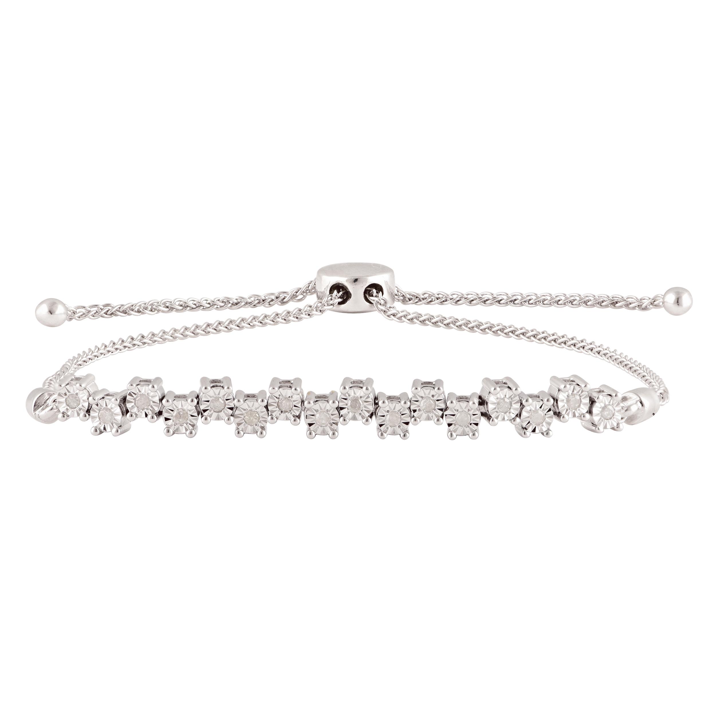 Sterling Silver 15 Points Diamond Bracelet with 16 Brilliant Cut Diamonds