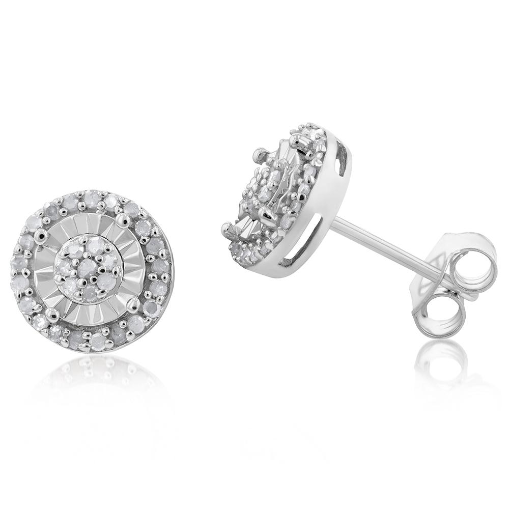 Sterling Silver 1/4 Carat Diamond Stud Earrings sei with 18 Brilliant Diamonds