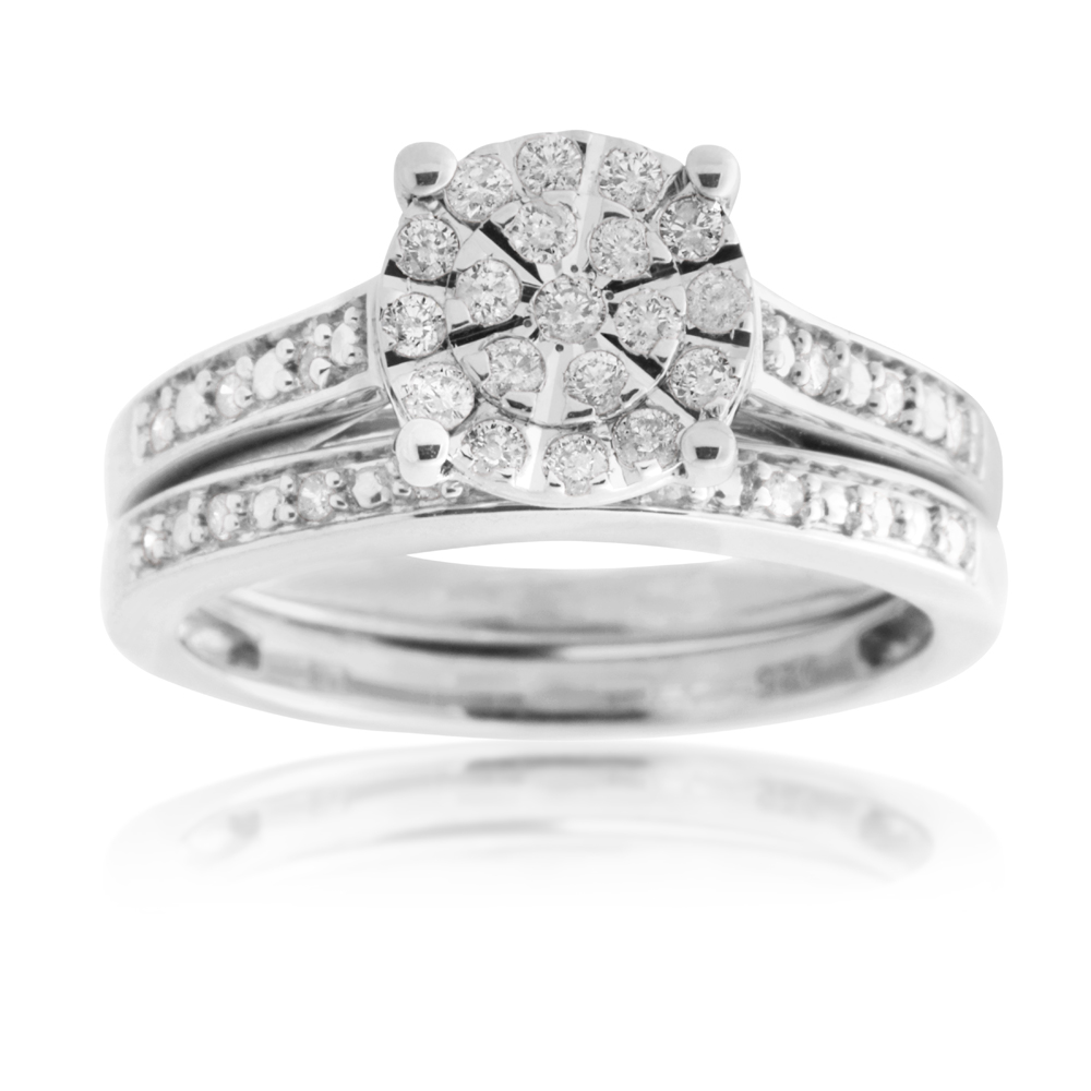 Sterling Silver 1/3 Carat Diamond Bridal Ring Set