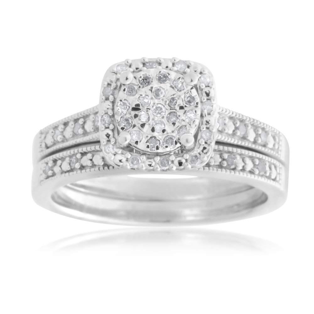 Sterling Silver 1/5 Carat Diamond  2-Ring Bridal Set