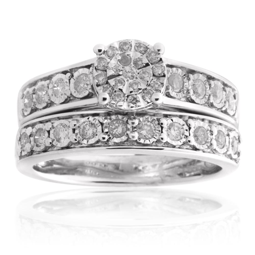 Sterling Silver 0.45 Carat Diamond  2-Ring Bridal Set