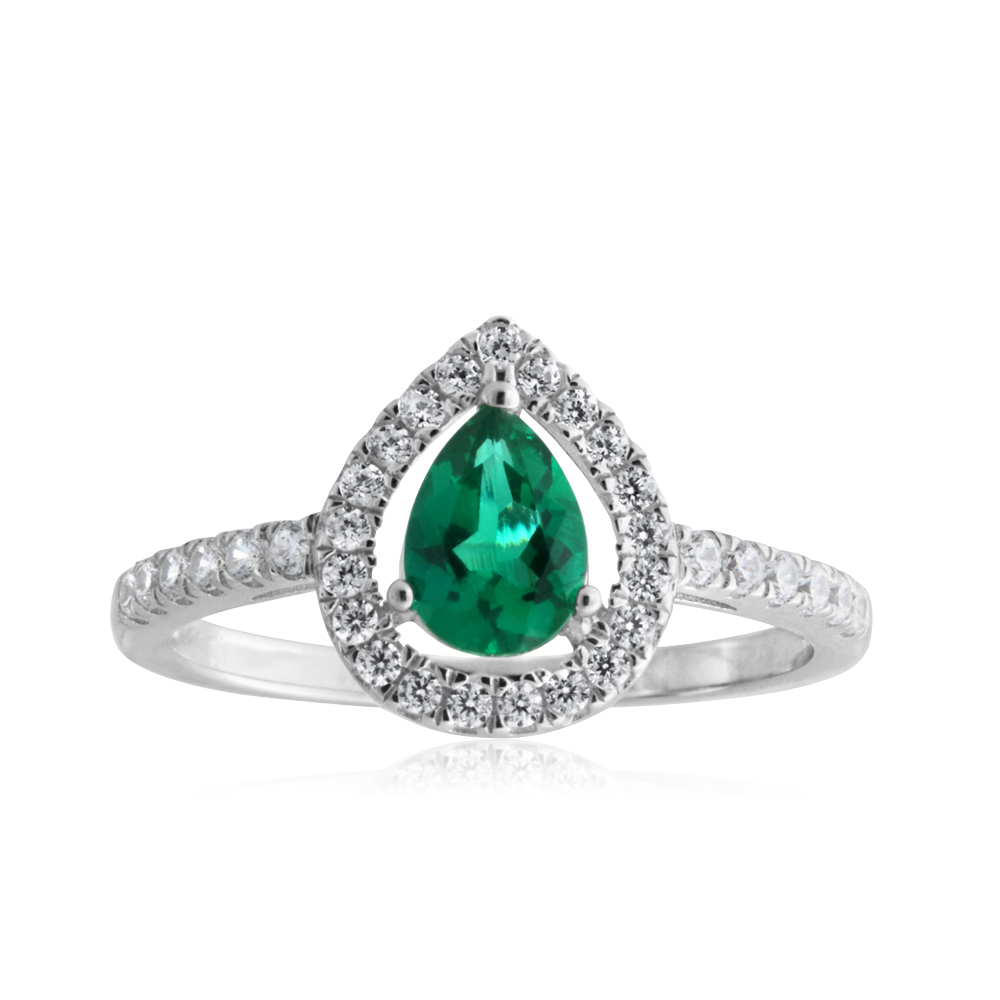 Sterling Silver Created Emerald Pear Halo White Cubiz Zirconia Channel Set Ring