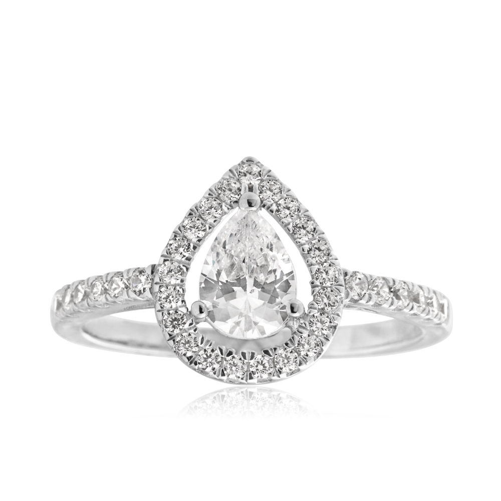 Sterling Silver Cubic Zirconia Pear Halo and Channel Set Ring