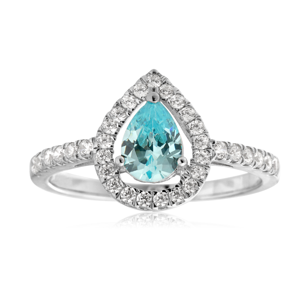 Sterling Silver Light Blue Zirconia Pear Halo and Cubic Zirconia Channel Set Ring