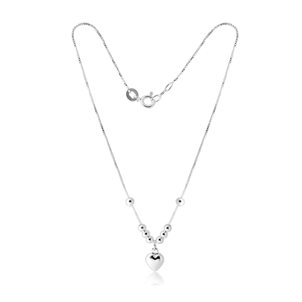 Sterling Silver Beads with Heart Drop Anklet