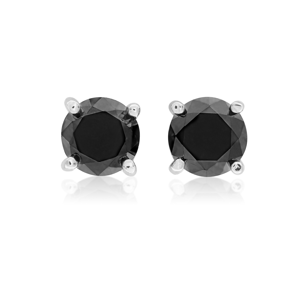 Sterling Silver 1/4 Carat Black Diamond Stud Earrings