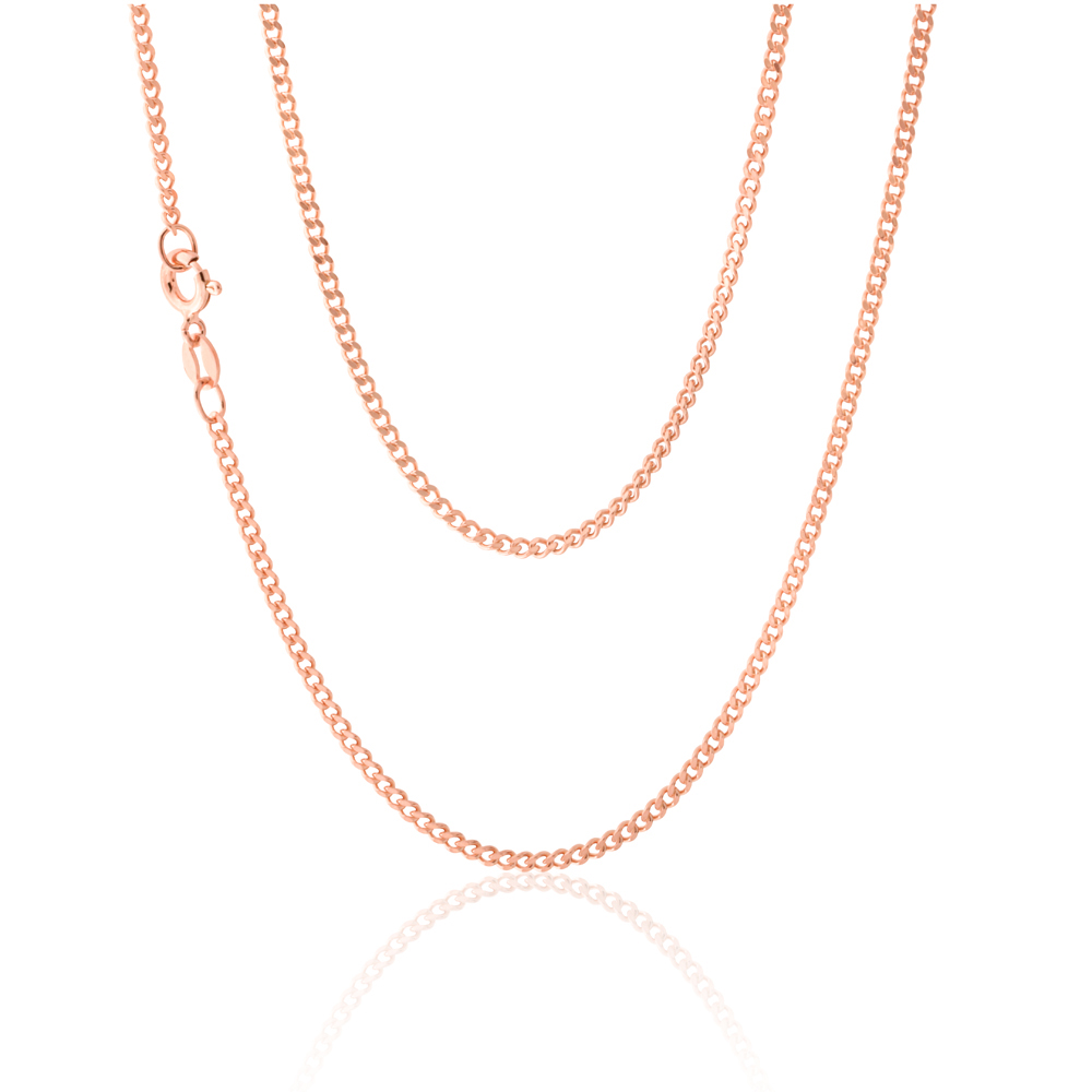 Sterling Silver Rose Plated 50cm Curb Dicut Chain