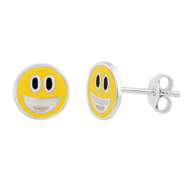 Sterling Silver Emoji Smiley Face Stud Earrings