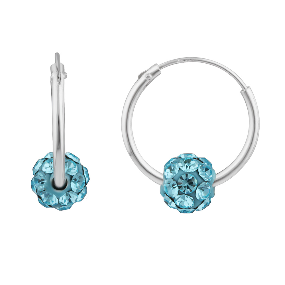 Sterling Silver Blue Crystal Slider on Hoops