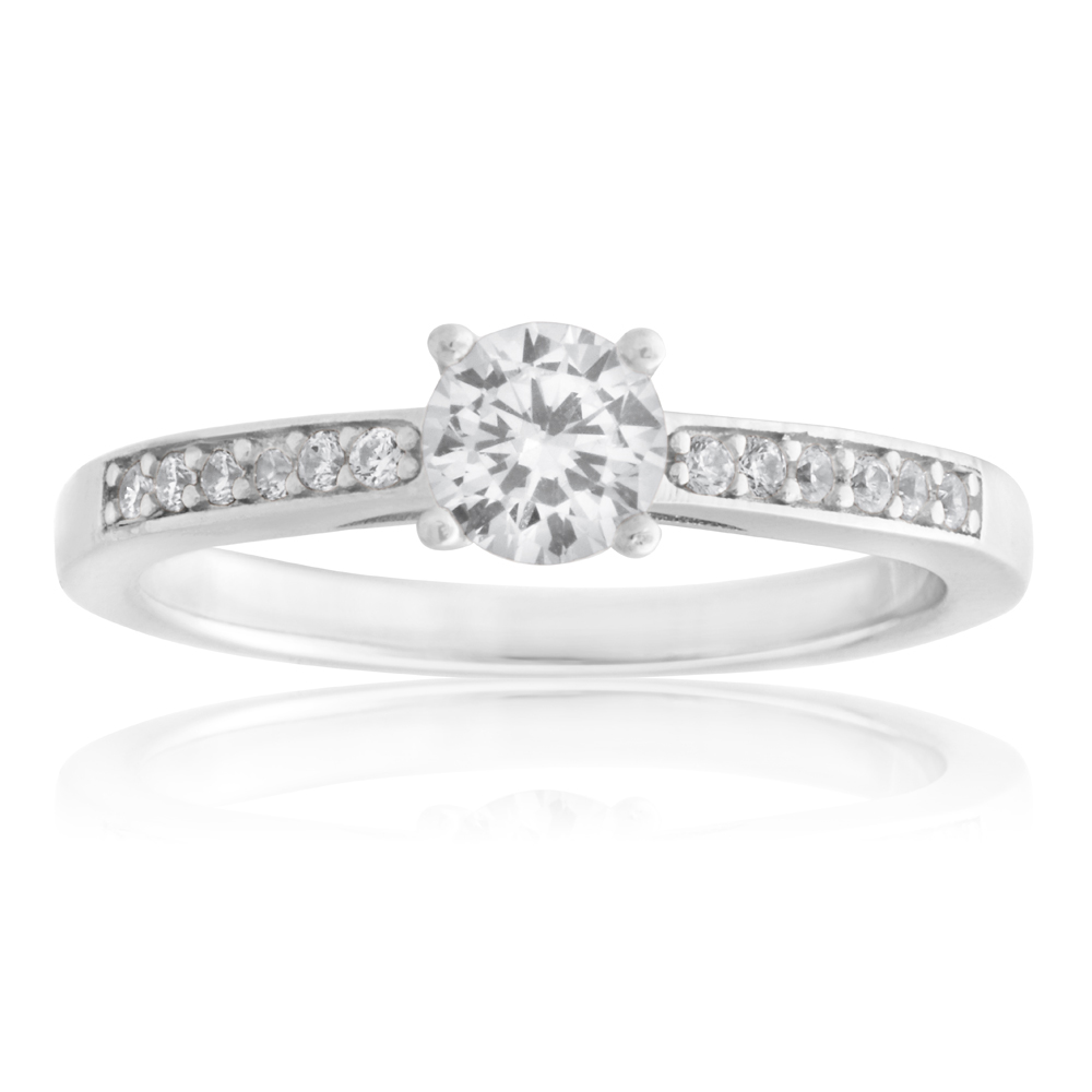 Sterling Silver Zirconia Solitaire Channel Ring
