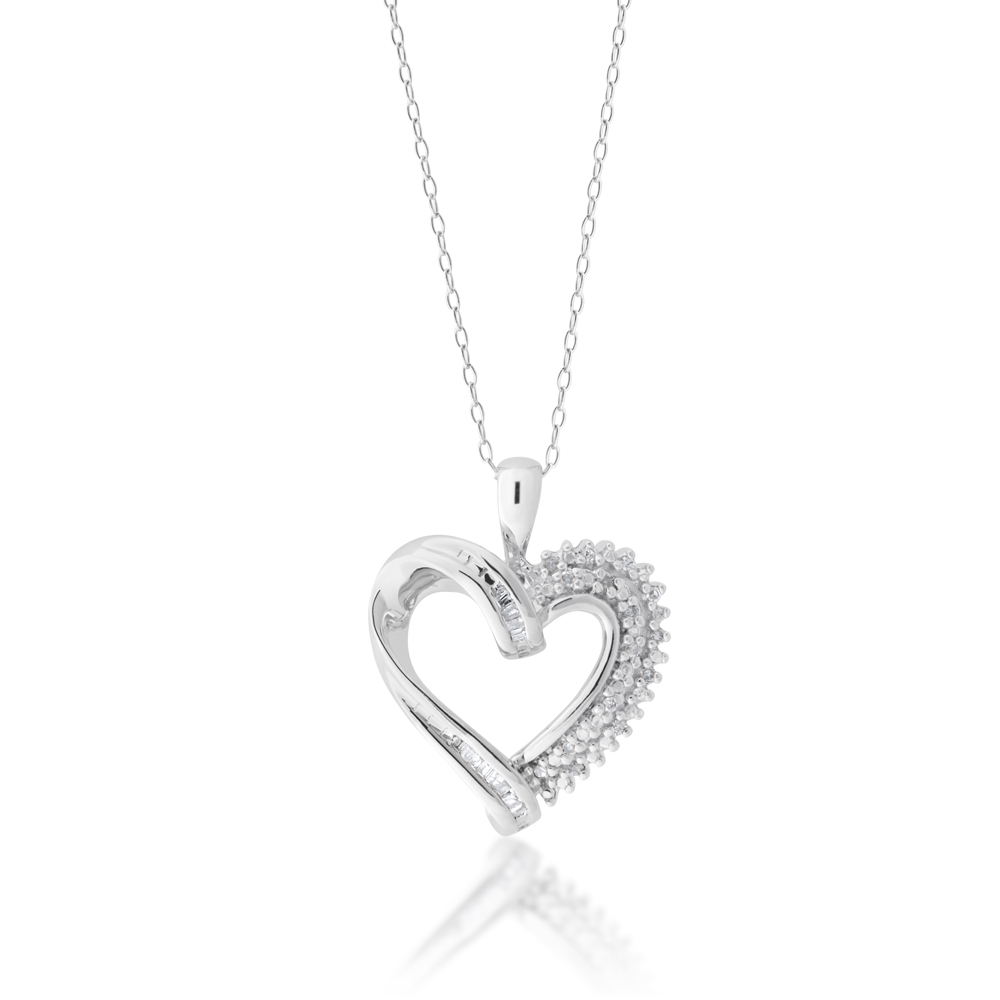 Silver Heart 0.10 Carat Diamond  Pendant with Round & Baguette Diamonds on 45cm Chain