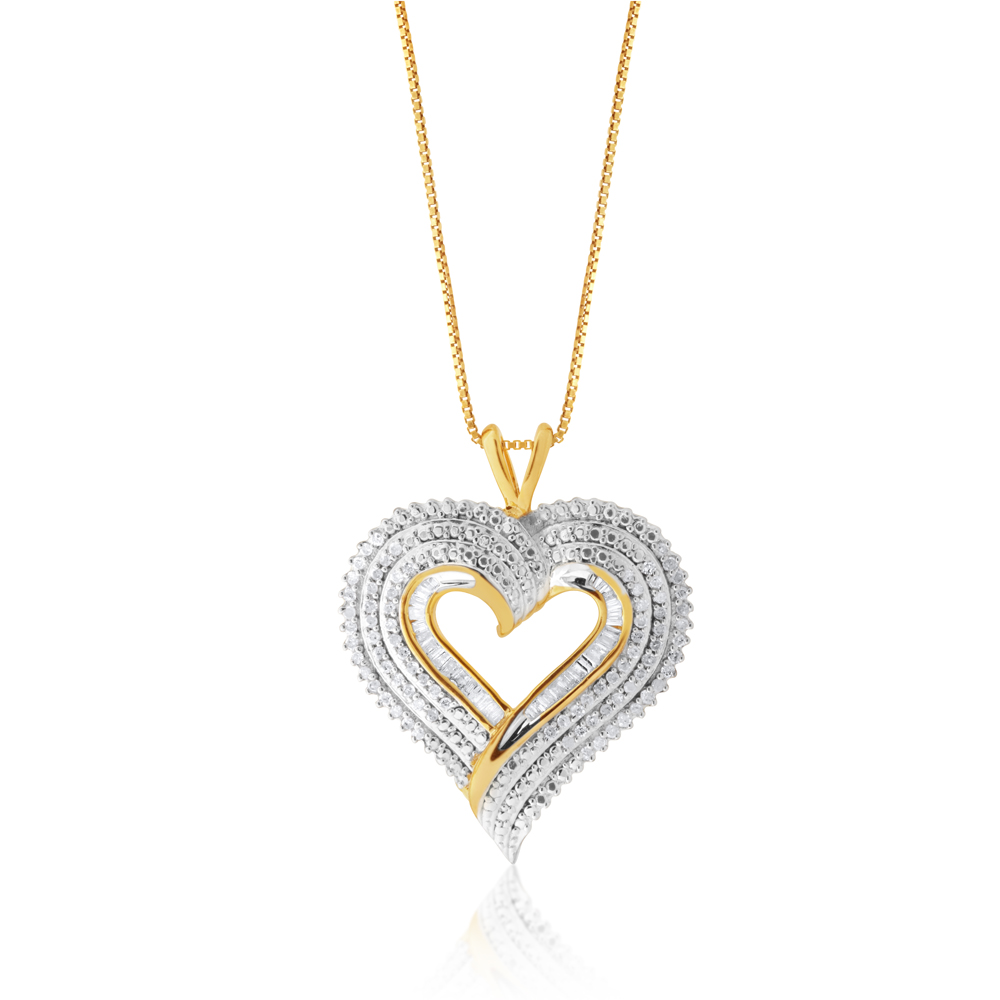 Gold Plated Silver 1/2 Carat Diamond Heart Pendant on 45cm Chain