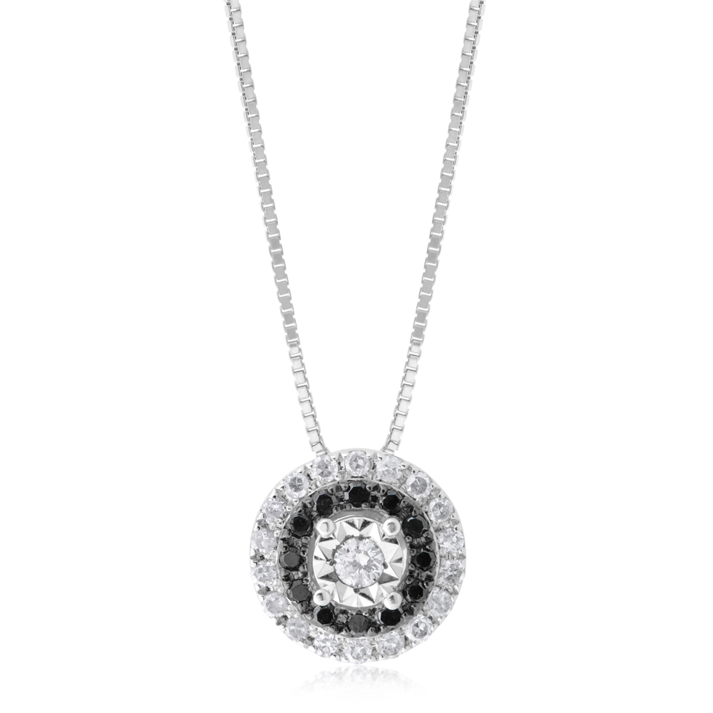 Sterling Silver 1/4 Carat Black and White Diamond  Pendant on 46cm Chain