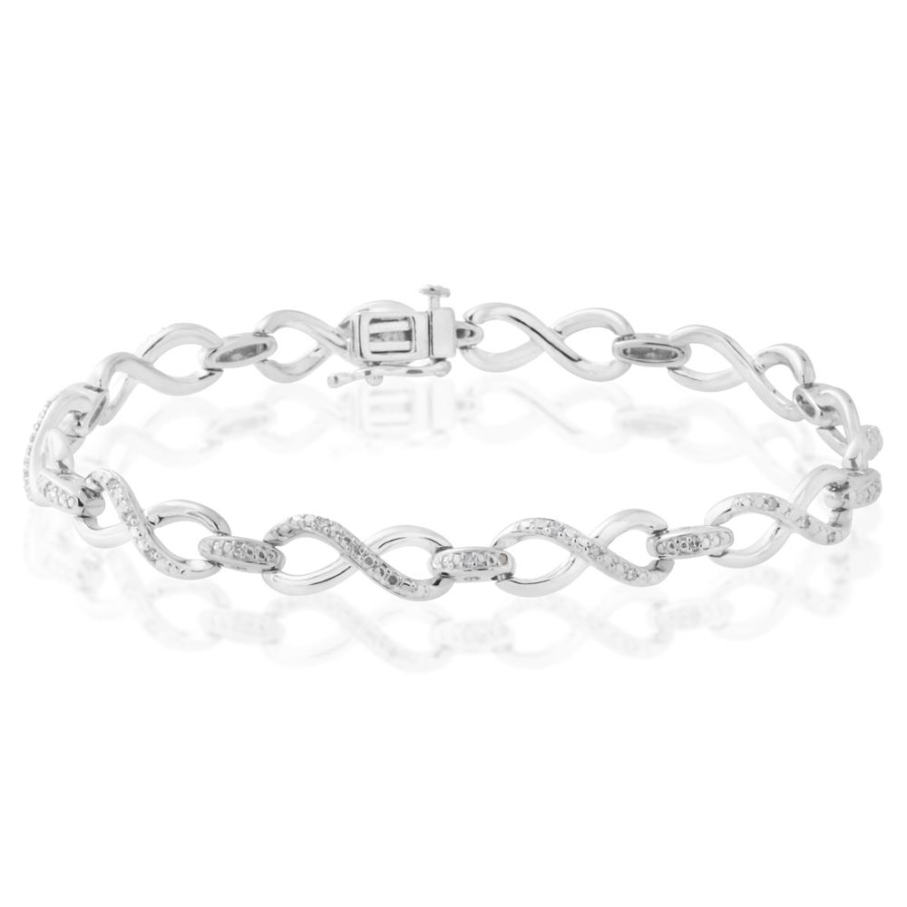 Sterling Silver 1/4 Carat Diamond 19cm Infinity Bracelet