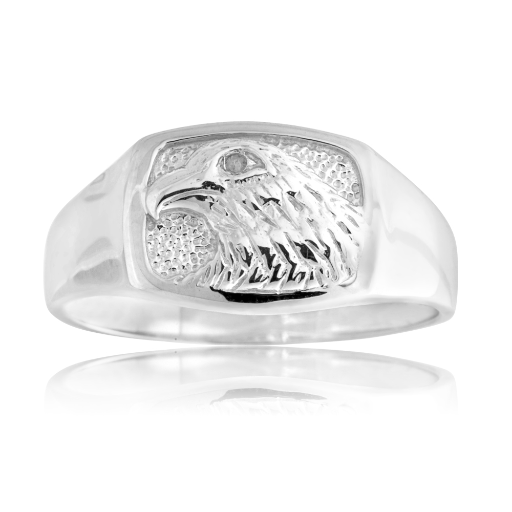 Sterling Silver Diamond Eagle Ring