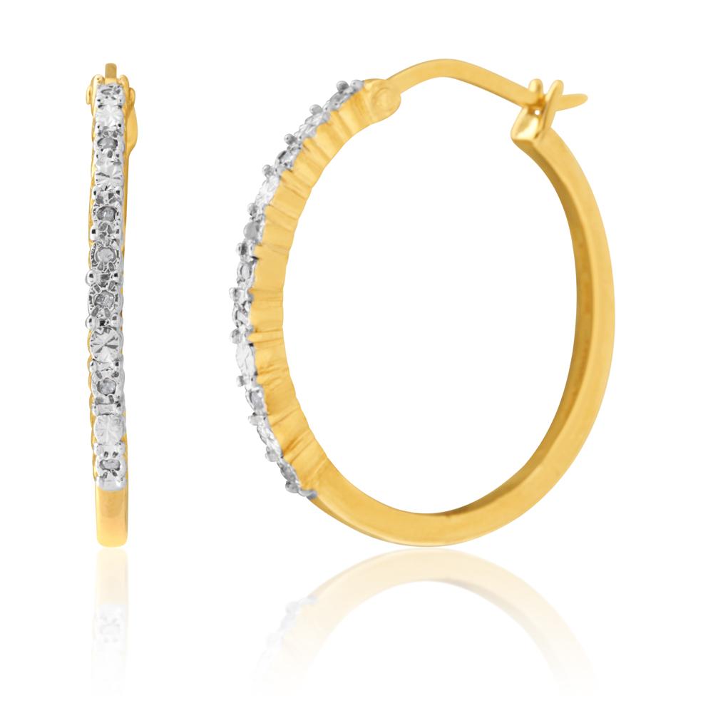 Silver 5 Point Hoop Diamond Earrings