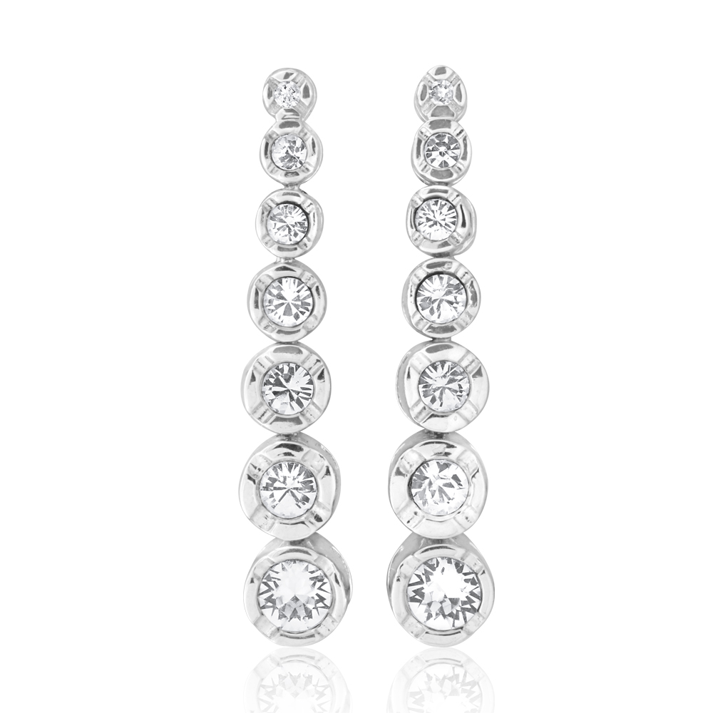 Sterling Silver 1x Diamond and Zirconia Graduated Drop Earrings