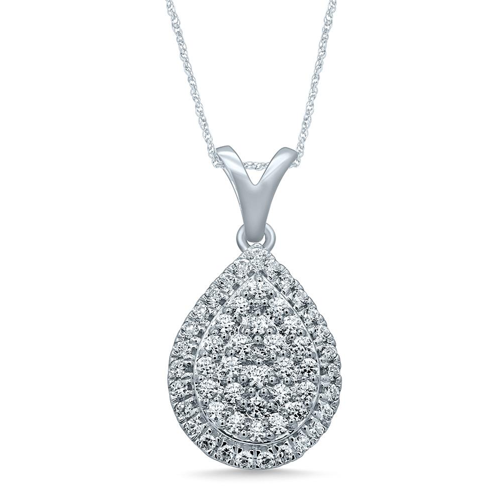 Silver 1/2 Carat Pendant with 52 Brilliant Diamonds on 45cn Chain
