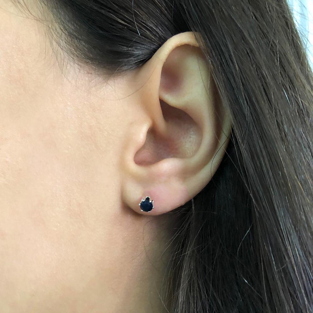 Sterling Silver Natural Enhanced Sapphire 4mm Stud Earrings