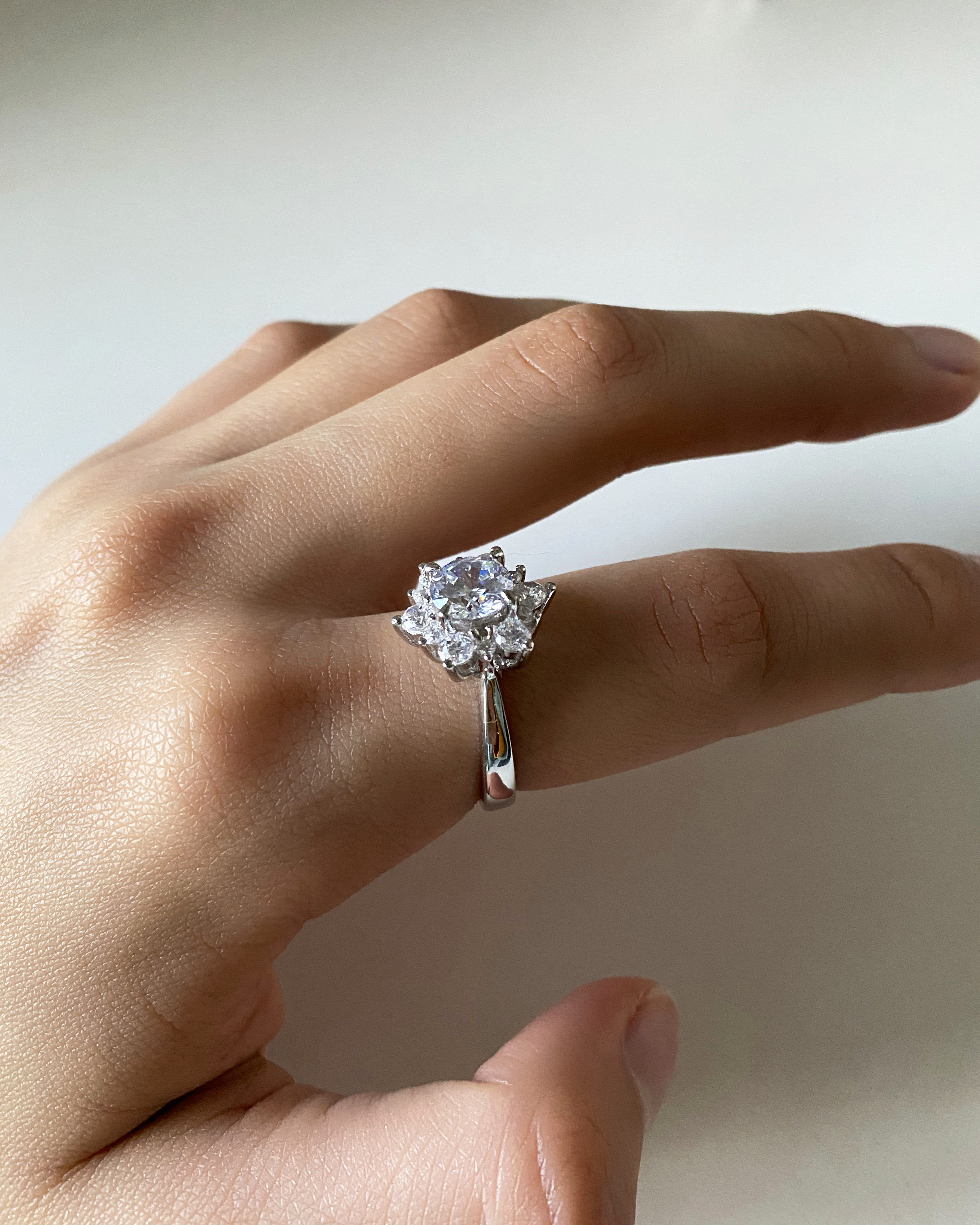 Sterling Silver Flower Shaped Cubic Zirconia Ring