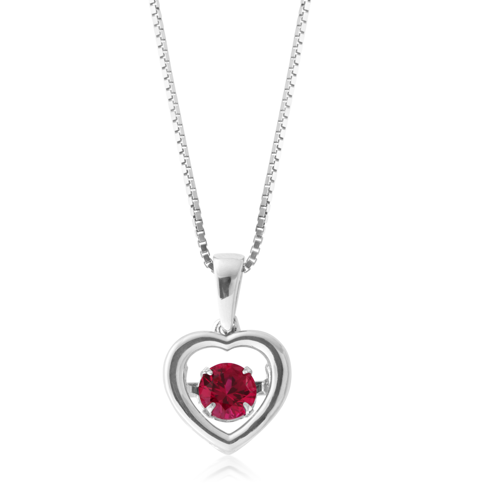 Sterling Silver Created Ruby Heart Pendant