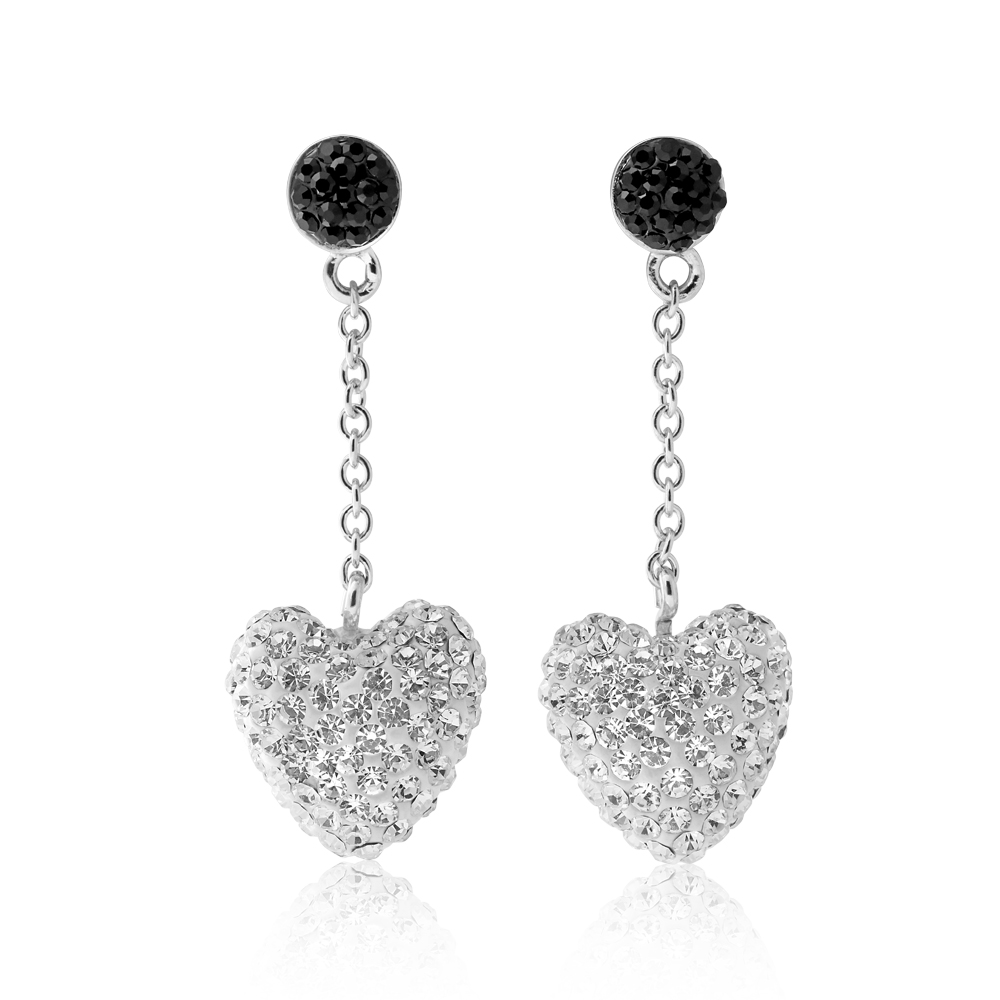 Sterling Silver Swarovski Crystal Black and White Heart Drop Earrings