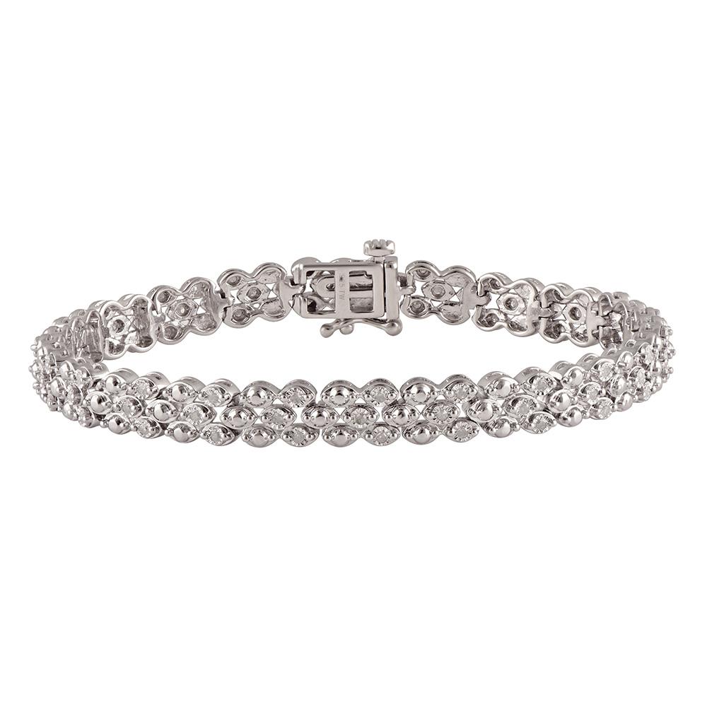 Silver 1/2 Carat Diamond 18.5cm Bracelet
