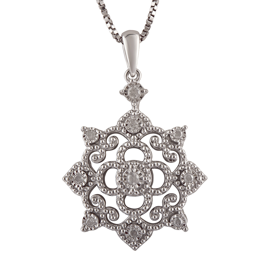 Silver 0.10 Carat Diamond Pendant