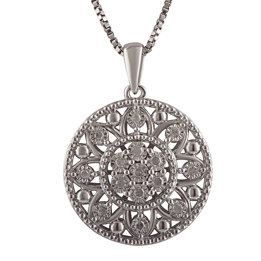 Silver 0.10 Carat Diamond Filigree Pendant