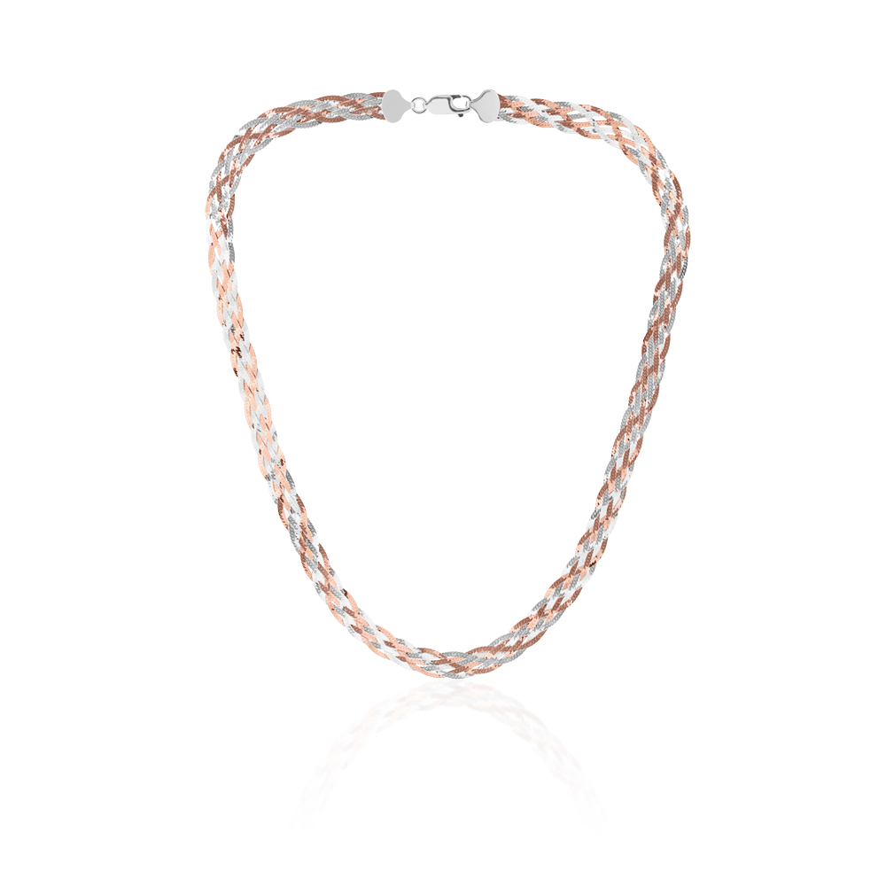 Sterling Silver and Rose Gold Plated 45cm Multi Strand Plait Necklace