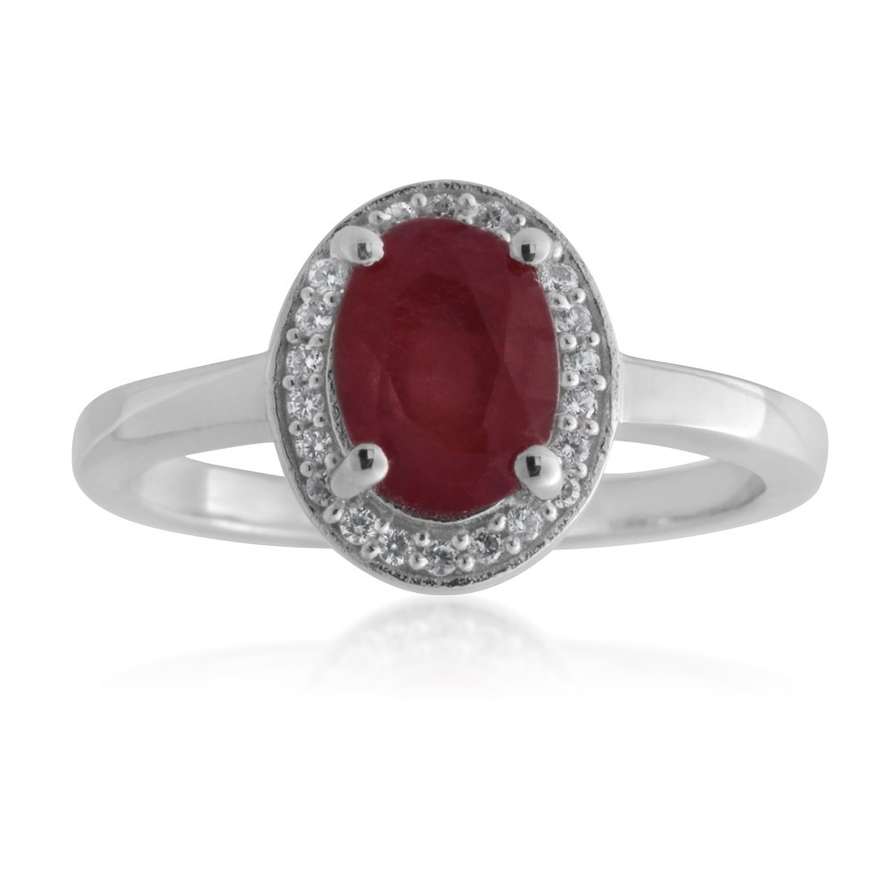 Sterling Silver Natural Enhanced Oval Ruby and White Zircon Halo Ring